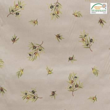 Tissu provençal grège motif brin d'olivier