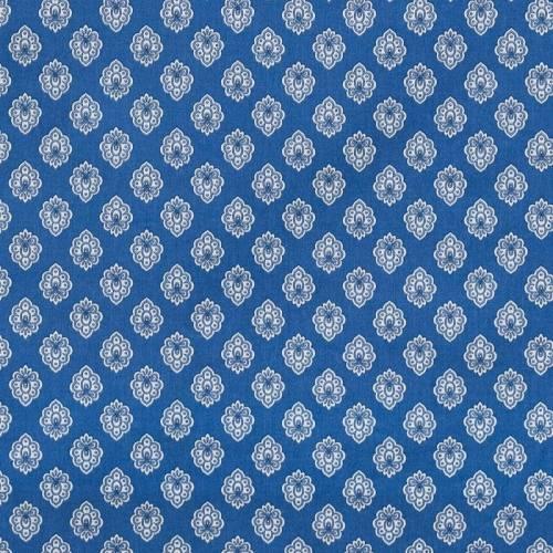 Tissu provençal bleu motif petit calisson blanc