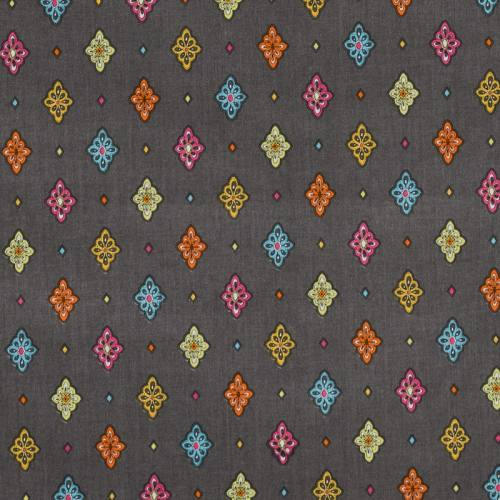 Tissu provençal gris foncé motif petit calisson