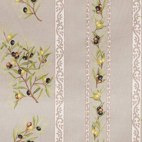Tissu provençal grège Clos des oliviers