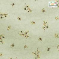 Tissu provençal vert motif brin d'olivier