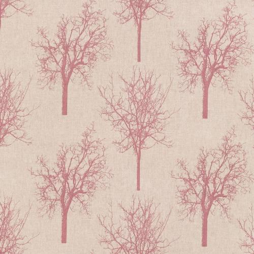 Toile polycoton beige motif arbre vieux rose