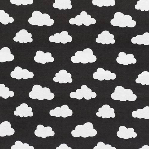 Toile polycoton noire à motif nuage