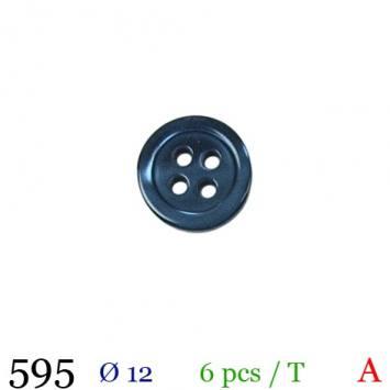 Bouton bleu marine rond 4 trous 12mm
