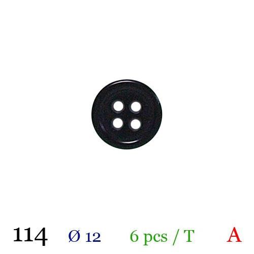 Bouton noir rond 4 trous 12mm