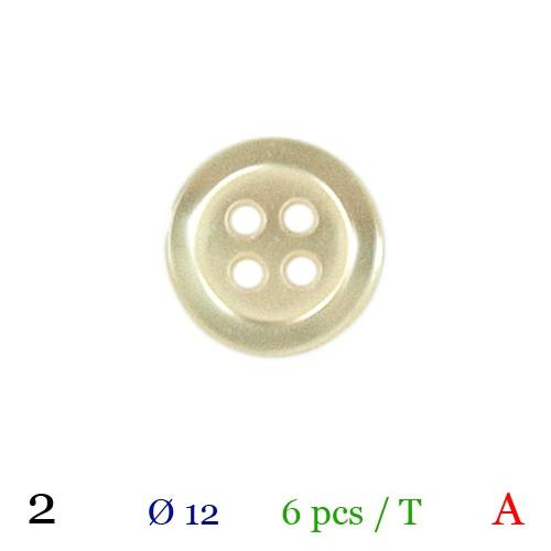 Bouton beige rond 4 trous 12mm