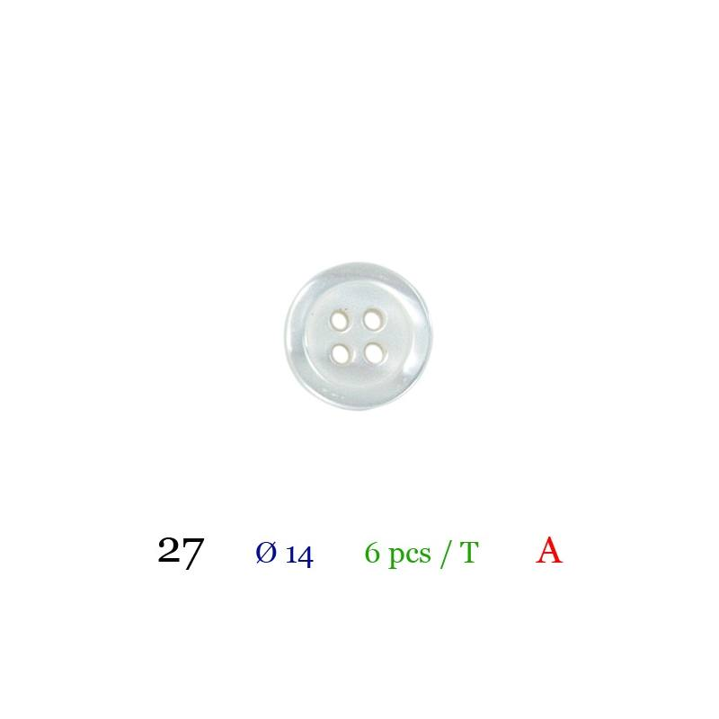 Bouton blanc rond 4 trous 14mm