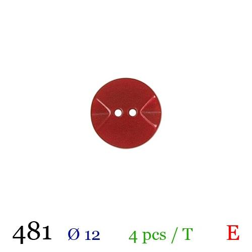 Bouton rouge rond 2 trous 12mm