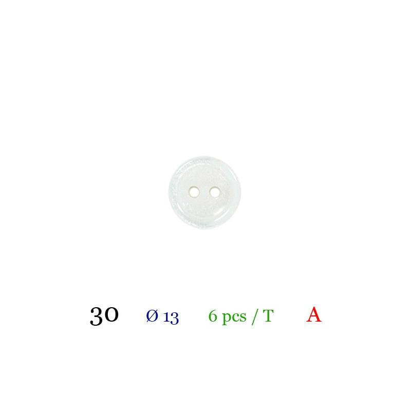 Bouton blanc rond 2 trous 13mm