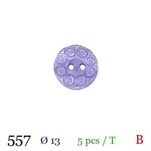 Bouton lilas nacré rond 2 trous 13mm