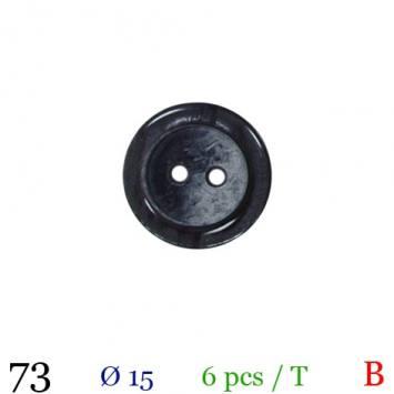 Bouton nacré gris rond 4 trous 15mm