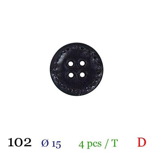 Bouton surpiqué noir rond 4 trous 15mm