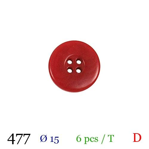 Bouton rouge mate rond 4 trous 15mm