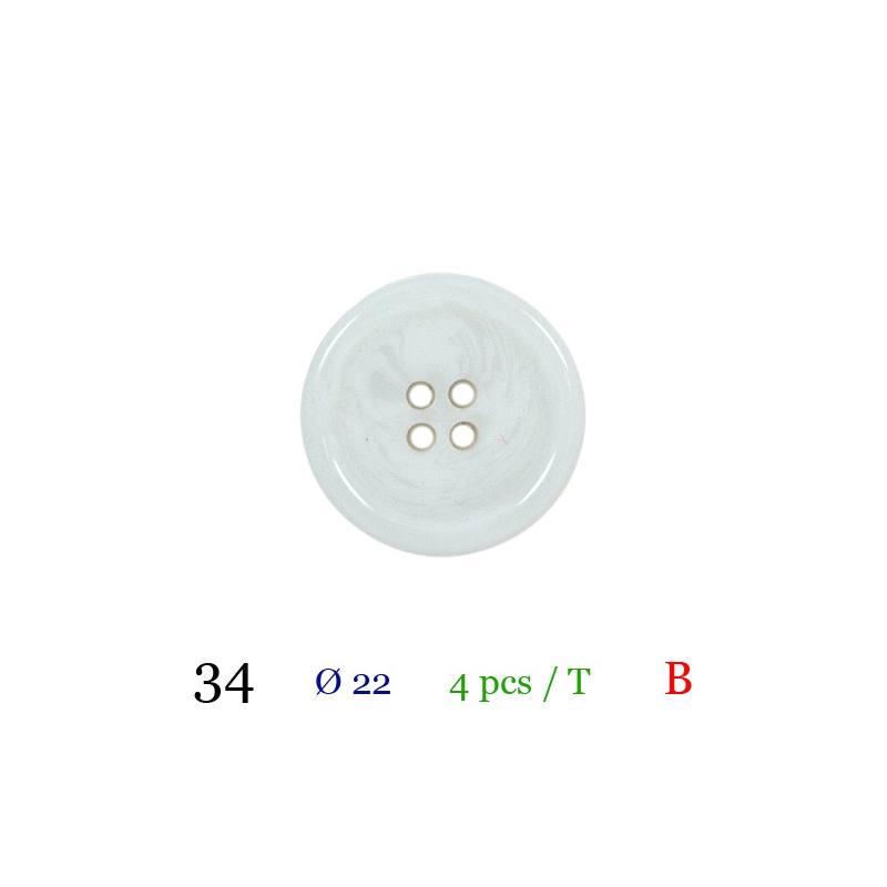 Bouton blanc nacré rond 4 trous 22 mm