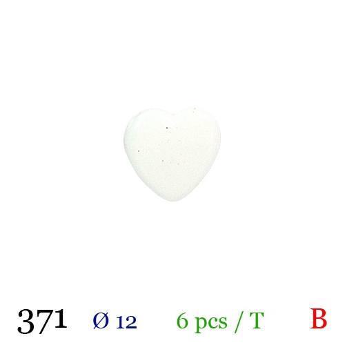 Bouton coeur blanc à queue 12mm