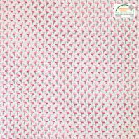 Coton écru imprimé flamant rose