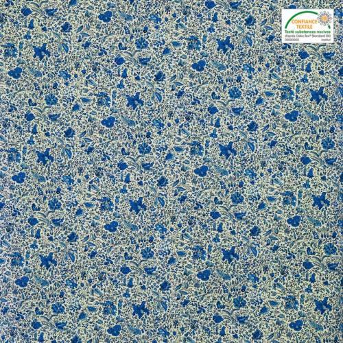 Coton blanc imprimé liberty bleu