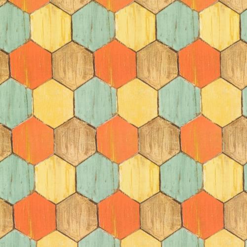 Coton impression numérique motif carreaux terracotta