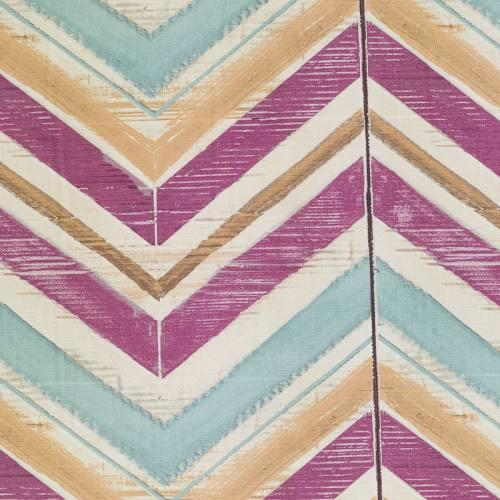 Coton impression numérique motif chevron bleu ciel, beige et violet