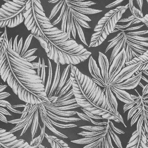 Jacquard anthracite et blanc motif végétation