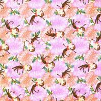 Coton impression numérique rose motif singe