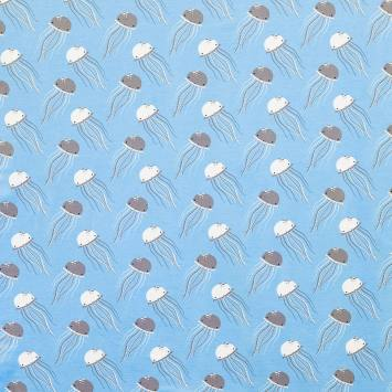 Jersey extensible bleu ciel imprimé méduse