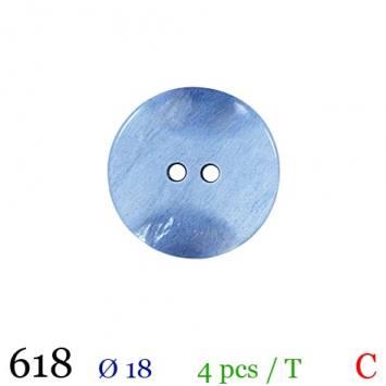 Bouton bleu roi nacré rond 2 trous 18mm