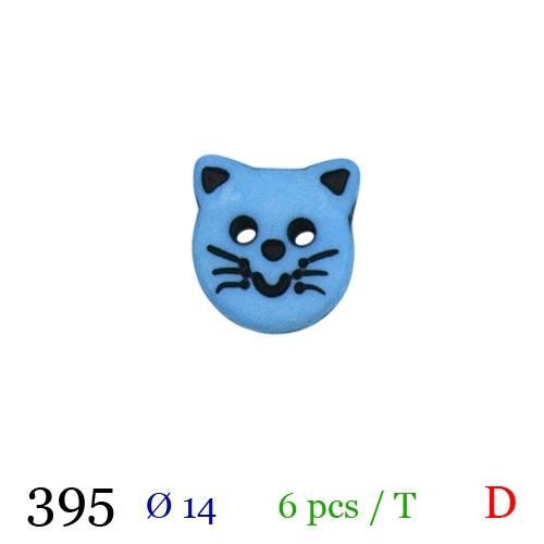 Bouton bleu pastel motif chaton 2 trous 14mm