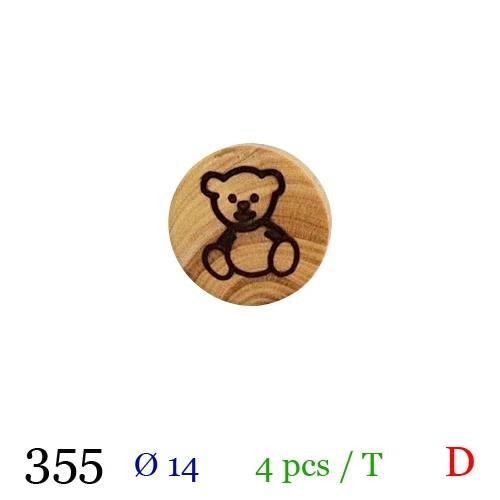 Bouton bois rond motif ourson à queue 14mm