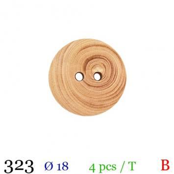 Bouton bois spirale rond 2 trous 18mm