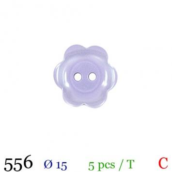 Bouton parme motif marguerite 2 trous 15mm