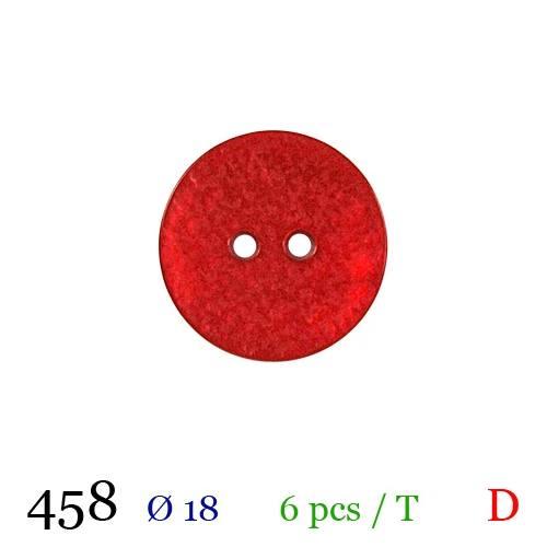 Bouton nacré rouge rond 2 trous 18mm