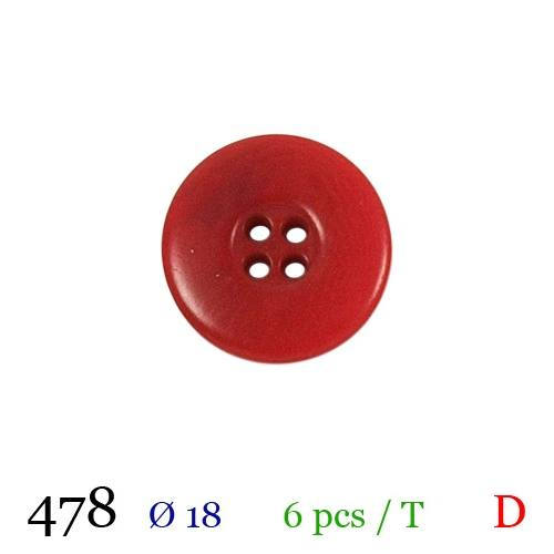 Bouton rouge mate rond 4 trous 18mm