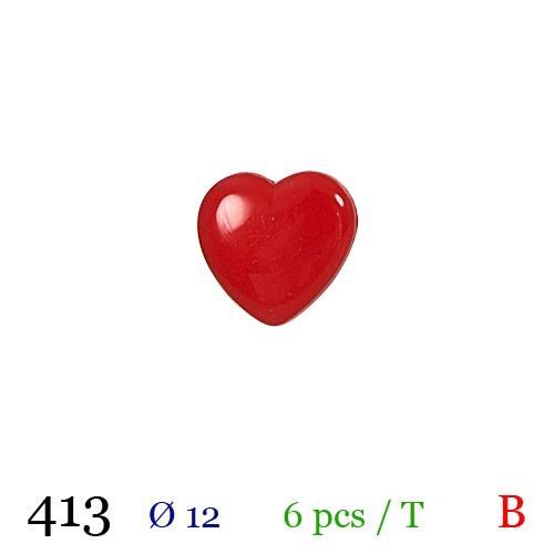Bouton cerise motif coeur à queue 12mm