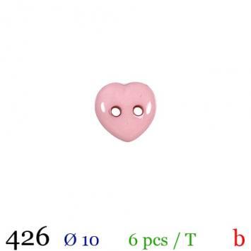 Bouton rose pâle motif coeur 2 trous 10mm
