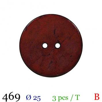 Bouton bordeaux mate rond 2 trous 25mm