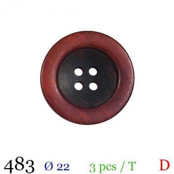Bouton aspect bois rouge rond 4 trous 22mm