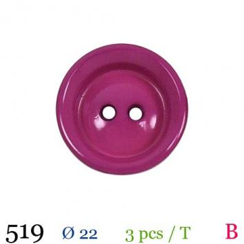Bouton pourpre mate rond 2 trous 22mm