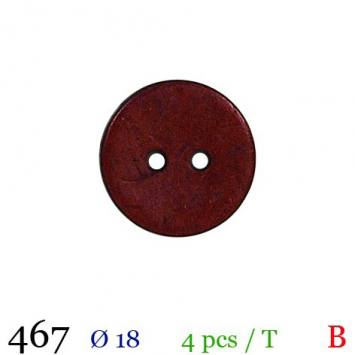 Bouton bordeaux mate rond 2 trous 18mm