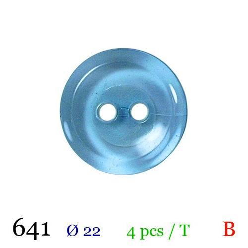Bouton transparent bleu nacré rond 2 trous 22mm