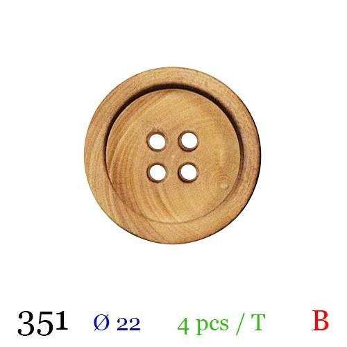 Bouton bois foncé rond 4 trous 22mm