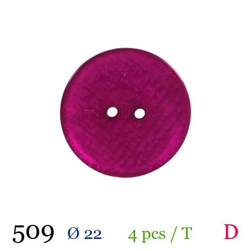 Bouton lie de vin nacré rond 2 trous 22mm