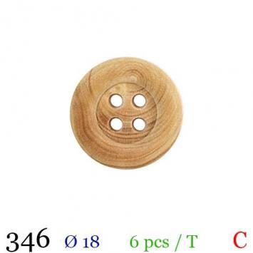Bouton bois clair rond 4 trous 18mm