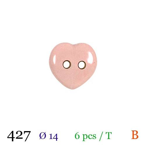 Bouton rose pâle motif coeur 2 trous 14mm