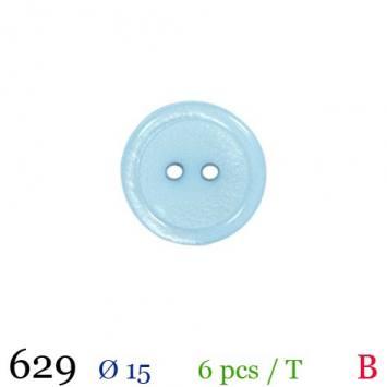 Bouton bleu ciel nacré rond 2 trous 15mm