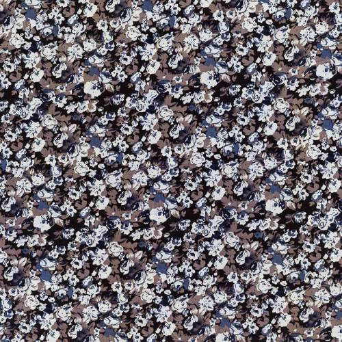 Tissu microfibre noir et taupe imprimé fleur