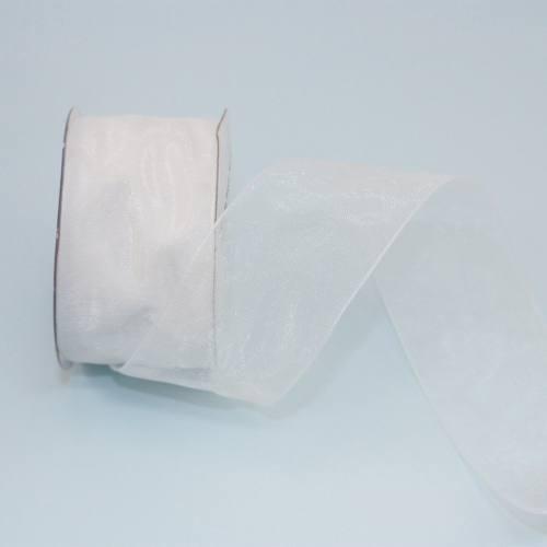 Ruban organdi en bobine blanc 32 mm