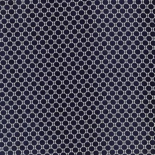 Tissu mousseline bleu imprimé gros pois