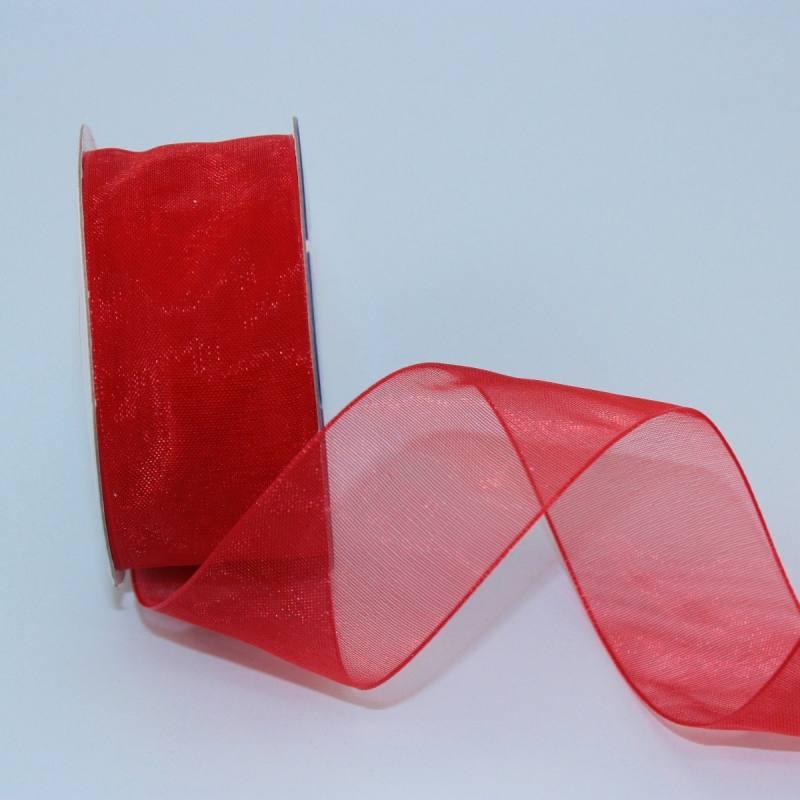 Ruban organdi en bobine rouge 25 mm