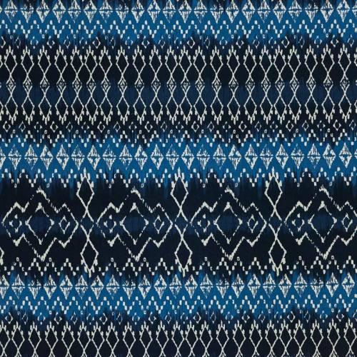 Coton tie and dye bleu imprimé ethnique